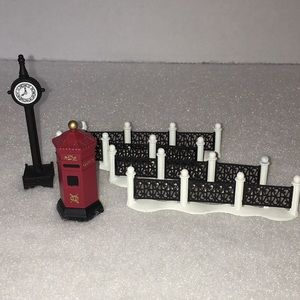 DEPT 56:  English Post Box, Town Clock, Fence